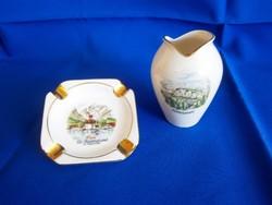 Bavaria porcelán váza és hamutál, hamutartó tájképpel aranyozott széllel