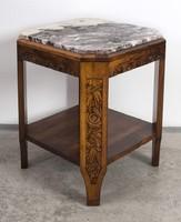 Francia art deco kis asztal márványlappal