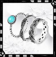 Tibeti ezüst 3db-os  türkiz köves gyűrű TEGY-K05