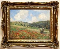 Olgyay Ferenc (1872 - 1939):Dombos tájkép pipacs mezővel,60 x 80 cm