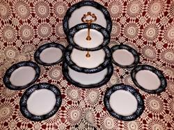 Zsolnay pompadour emeletes süteményes tál és készlet