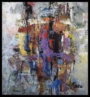 """""""Kompozíció """"   Koso festmény , 80 x 76 cm ,keretes akció"""