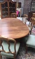 Antik Warrings kinyitható étkezőasztal 8 székkel