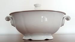Régi Drasche porcelán levesestál fehér tál