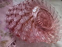 Rózsaszín üveg tányérok