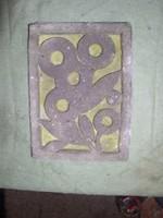 Absztrahált virág sgrafito szinezett-beton 21 x 15 cm -Lehoczky József    Szinezett Betondombormű
