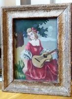 Gitározó lányka, gobelin falikép