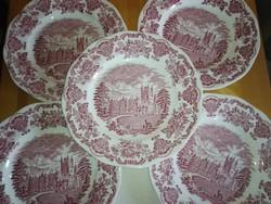 5 db angol jelentés, lapos porcelán tányér.