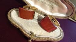 Régi orosz vintage aranyozott borostyán mandzsetta pár