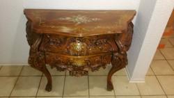 Barok rokoko stilusú festett,intarziás hasas komod 100x45x72cm magas