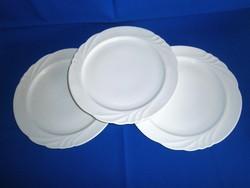 3 db nagy méretű 28 cm átmérőjű hófehér Hollóházi lapos tányér, kínáló tál, pizza tányér