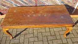 Rézintarziás rózsafa asztal