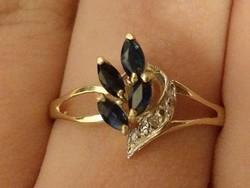 10 karátos tömör arany gyémánt-zafír gyűrű