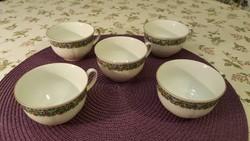 Kahla teás/kávéscsészék. 5 darab, finom porcelán, jelzett.