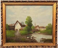 Mesterházy Dénes Tanya c. festménye 68x58cm EREDETI GARANCIÁVAL !
