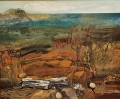 Káplár Ferenc (1937 - ) Eruptiv táj képcsarnokos festménye EREDETI GARANCIÁVAL !