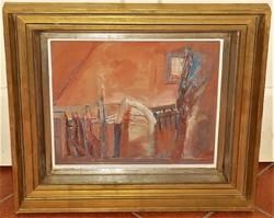 Krajcsovics Éva (1947 - ) Kapu c. festménye EREDETI GARANCIÁVAL !