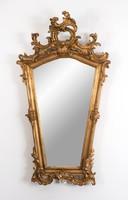 XIX. századi aranyozott faragott fa tükör