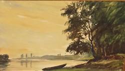 Élesdy István (1912 - 1987) Vízparti tájkép c. festménye EREDETI GARANCIÁVAL ! -