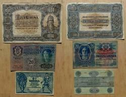 1000 korona 1920 , 20 korona 1913 D.Ö felülbélyegzés ,5 korona 1919 Tanácsköztársaság (1000 koronán