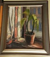 Herendi Gyula (1926-) : Virág ablakban