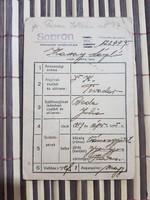 1940 Sopron népmozgalmi nyilvántartó igazolvány Ritka!