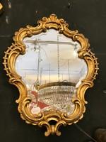 Aranyozott keretű, kis méretű tükör