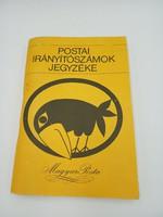 Postai irányítószámok jegyzéke 1979.