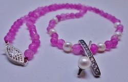 Különleges valódi rózsaszín spinell és gyöngy ezüstnyakék