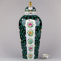 Herendi Siang Noir mintás hatalmas nyolcszögletű fedeles váza