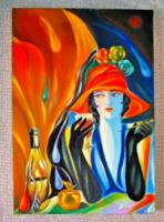 A szingli / art deco olaj festmény feszitett vászon /