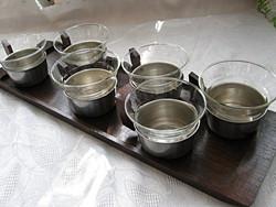 Nemesacél teás, bólés készlet tálca nélkül