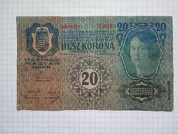 Nagyon szép 20 Korona 1913 !! Bélyegző D.Ö. ! ! ( 2 )