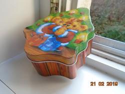 Karácsonyi fenyőfa formájú fém doboz két medve boccsal,Fackelmann