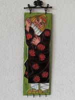 zománc díszítésű, réz falikép