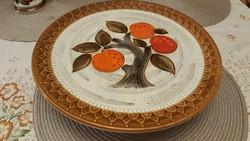 Gyönyörű, Schramberg, mandarin mintás talpas kínáló. Kézzel festett, vitrinállapotú!