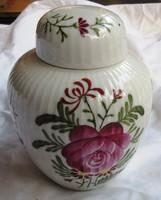 Porcelán teafű tartó, jelzett, kézi festés, 12,5 cm magas.