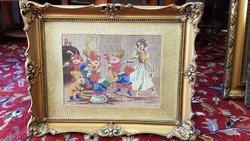 Hófehérke és a hét törpe goblein régi blondel képkeretben