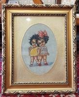 Kislányos goblein szép régi képkeretben