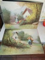 M Németh Gábor olaj festmények 2 db jelzett eredeti