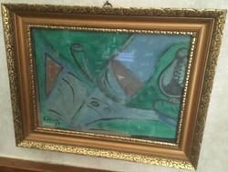 Bálint Endre jelzéssel absztrakt festmény, 44,5 X 34,5 cm, gyönyörű keretben