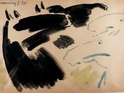 Művészi lovas akvarell