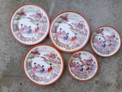 Kínai motívumos  porcelán csészealj és süteményes tányér