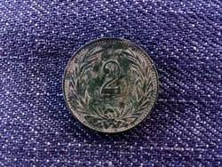 Nagyon szép, zöld patinás 2 fillér 1895/id 6236/