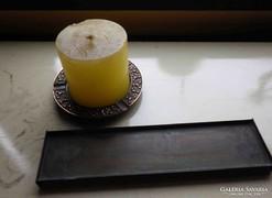 Iparművészeti bronz gyertyatartó v. tálka + ajándék