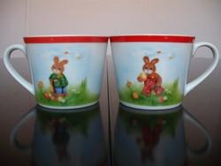 2 db porcelán nyuszis gyerek pohár