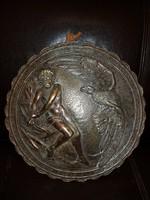 Alumínium, vagy spiáter, ókori témájú, öreg, bronzírozott, vastag, nehéz, 30 centis fali dombormű