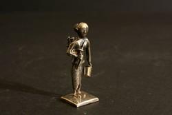 Mini Ezüst Vízhordó Nő Figura 5cm Miniatűr Vietnámi Ázsiai Keleti Szobor Régi Antik