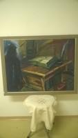 Koncz Zoltán:Luther bibliája olajkép78x58cm