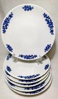 6 db Bavaria sütis tányér,  körben kobalt kék rózsás szépséges mintával.